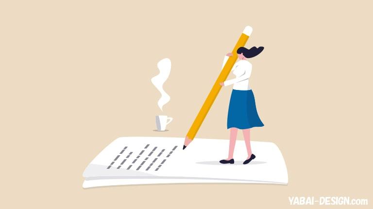 文章を書く女