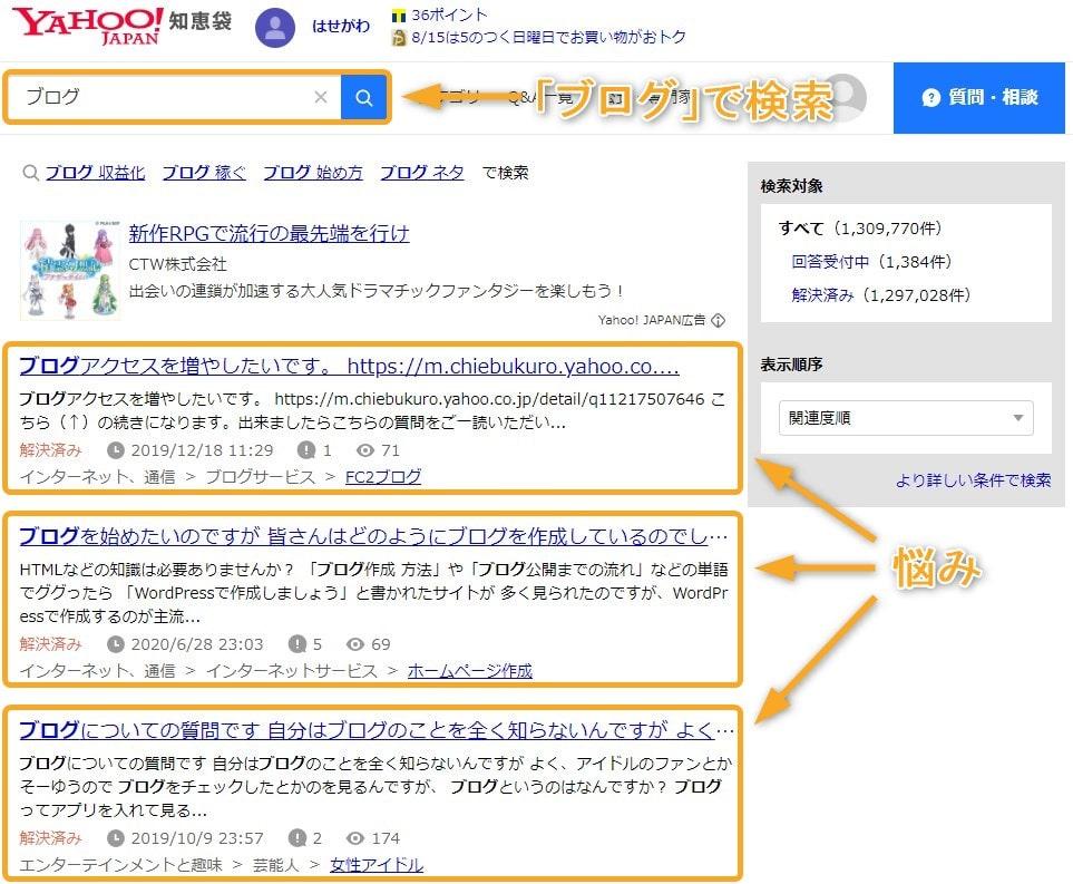 Yahoo!知恵袋「ブログ」で検索
